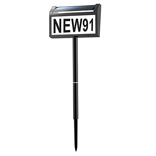 Veofoo moderne Adressschilder, Solar-Adressnummern für Häuser mit LED-beleuchteter Hausnummer für draußen, Straße, Hof, Auffahrt, Briefkasten, Gartenschild (Höhe 81,3 cm, 1 Stück)
