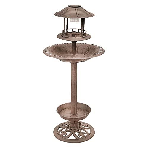 Solar beleuchtete Vogeltränke in Bronze - 105 cm - LED Vogel Futterstation Vogelhaus Vogelbad Wasserstelle Vogelhotel