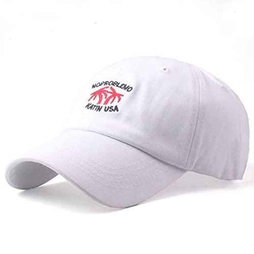 HutBaseball Kappe Baumwoll-Baseballmütze Neue Marke Frauen beiläufiger Hysteresenhut für Männer Buchstabenstickerei Einstellbar weiß
