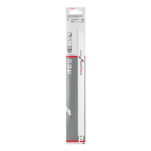 Bosch Professional 5 Stück Säbelsägeblatt S 1222 VF Flexible for Wood and Metal (Länge 300 mm, Zubehör Säbelsäge)