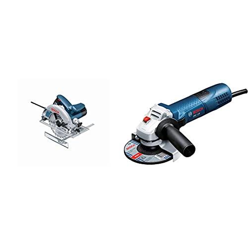 Bosch Professional Handkreissäge GKS 190 (1400 Watt, Kreissägeblatt: 190 mm, Schnitttiefe: 70 mm, in Karton) & Winkelschleifer GWS 7-125 (720 Watt, Scheiben-Ø: 125 mm, im Karton)