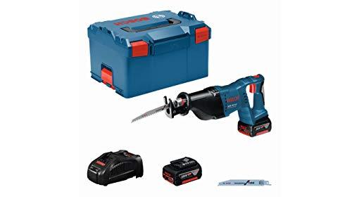 Bosch Professional 18V System Akku Säbelsäge GSA 18 V-LI (inkl. 2x5.0Ah Akku, Schnellladegerät, 2x Sägeblatt, L-BOXX 238)