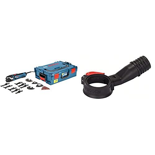 Bosch Professional 0601231001 Multi-Tool GOP 40-30 mit 16 tlg. Zubehör-Set, 400 Watt, Starlock, L-Boxx, W, 230 V & 2608000636 Absaughaube in schwarz