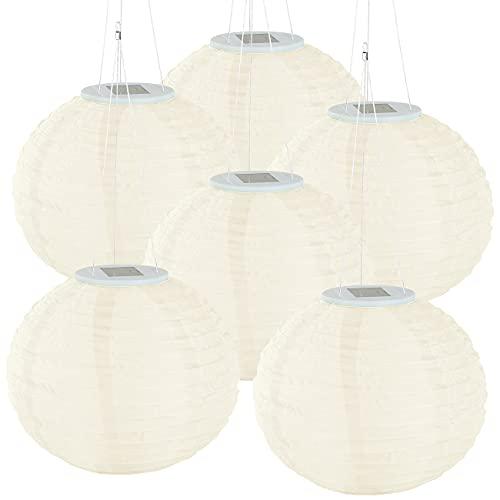 Lunartec Lampen Garten: 6er-Set Solar-LED-Lampions, Dämmerungs-Sensor, IP44, warmweiß, Ø 30 cm (Lampignons)