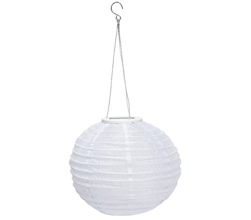 Dehner Solar Lampion Ø 28 cm, Nylon, weiß