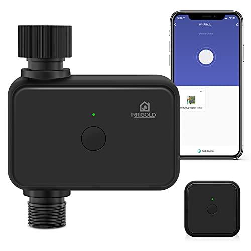 IRRIGOLD Bewässerungscomputer mit WiFi Hub, Automatische/Manuell Bewässerungsuhr mit App für Garten Rasen Zeitschaltuhr Gartensprenger für den Outdoor