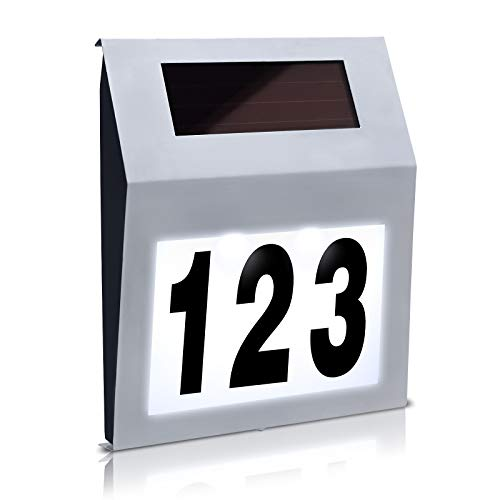 Aufun LED Beleuchtete Hausnummer mit 2 LED Solarhausnummer Edelstahl Solar Hausnummernleuchte LED Beleuchtete Hausnumme LED Wandleuchte - Silver