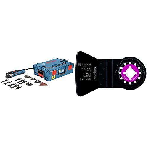 Bosch Professional 0601231001 Multi-Tool GOP 40-30 mit 16 tlg. Zubehör-Set, 400 Watt, Starlock, L-Boxx, W, 230 V & 2608661646 1 HCS starrer Schaber, 52 x 26 mm ATZ