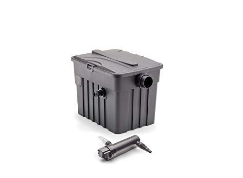 AQUANIQUE Durchlauf Teichfilter FTF 5000, externer Teichfilter Plus Teichklärer PC UVC 9W, geeignet für Teiche bis 5000 L