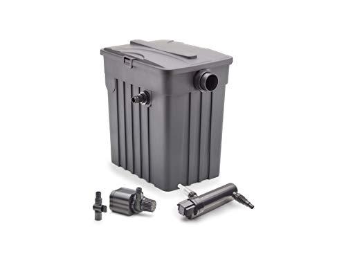 AQUANIQUE Durchlauffilter FTF 8000 Set, externer Filter mit 3 Filterschwämmen und Schläuchen + 2500 l/h Teichpumpe + 9W Teichklärer, bis zu 8000 L