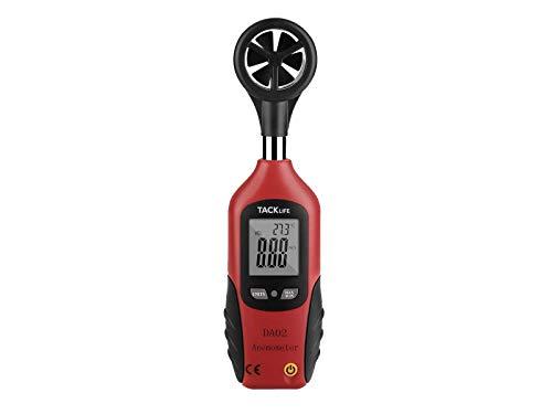 Tacklife DA02 Klassischer Anemometer Digital Windmesser 196-4900 ft/minmit Mini LCD Windgeschwindigkeitsmesser Thermometer 0 ° C bis 50 ° C mit Flügelrad Ein
