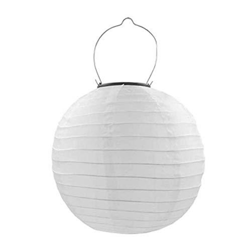 Moxled Lampions Solar Außen, 20cm Sloar LED Lampion Wasserdicht, Rund Ballform Lampenschirm Papierlaterner Hängende Gartenlaterne für Hochtzeit, Kirche, Garten, Party Dekoration (Warmweiß)