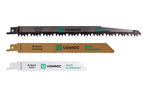 VONROC Satz Universal-Sägeblätter für eine Säbelsäge - 3-teilig – für Holz und Metall – Made in...