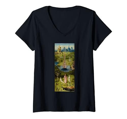 Damen Der Garten der irdischen Freuden Hieronymus Bosch T-Shirt mit V-Ausschnitt