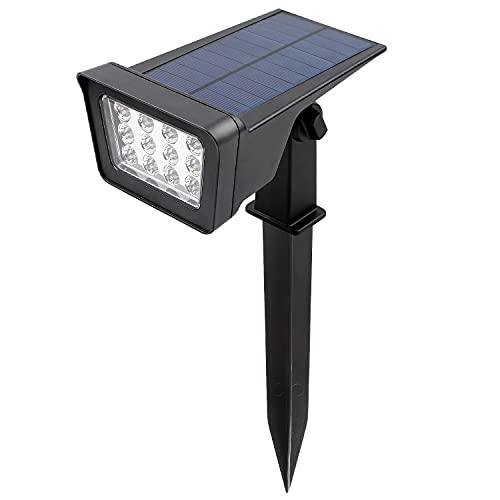 CPROSP Solarstrahler für Außen Warmweiss 12 LEDs Gartenstahler LED 2 Leuchtung Modi Warmweiß IP65 Wasserdicht Gartenleuchte Solarbetrieben für Rasen Auffahrt Pfad Innenhof Balkon