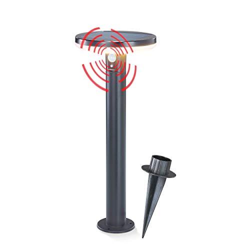 Solar LED Sensor Wegeleuchte Arezzo - Lichtfarbe 3000K warmweiß - max. 600 lm Lichtstrom - Leuchtdauer max. 8 h - Abmessungen 20 x 50 cm - Solarleuchte Standleuchte Bewegungsmelder esotec 102742