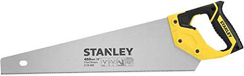 Stanley JetCut feine Handsäge 2-15-595 in 450 mm Länge – Säge für Holz, Kunststoff, Laminat – Mit Griff aus Bi-Material, verbesserter Verzahnung & 45/90° Anschlag für präzises Sägen