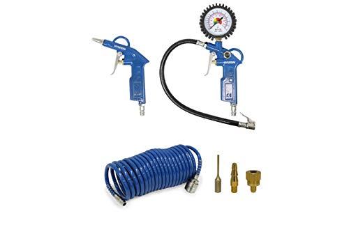 HYUNDAI Kompressor Zubehör SET ACZ55902 (Druckluft Zubehör SET, 6-teilig, bestehend aus Spiralschlauch,...