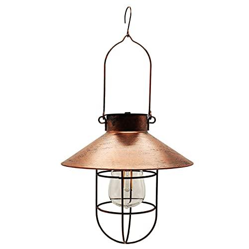 Sanshao 3 Stück Solarlampen für Außen,Gartendeko Vintage Solar Laterne Außen Hängelampe Metall Solarleuchten mit Shepherd's Hook Hängeleuchte aus Aluguss und Glas für Terrasse,Wegbeleuchtung -3 Stück