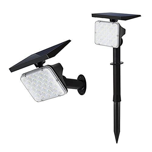 JCOCO Solarleuchten Garten 64 LEDs Solar Gartenleuchte Solarstrahler mit IP65 4 Helligkeitsstufe Solarlampe für Außen Hof Garage usw. 2 Stück/Black/one Size