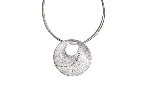 Perlkönig | Damen Frauen | Kette mit Anhänger | Silber mit Nieten | Rund Kreis | Nickelabgabefrei