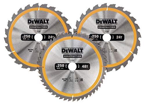 Dewalt Kreissägeblatt-Set 3er Pack, DT1963 (2x 250x30x3.0 mm, 24, WZ, 10° und 1x 250x30x3.0 mm, 48 WZ, 10°, nagelfest, für den Einsatz auf Stationärsägen)