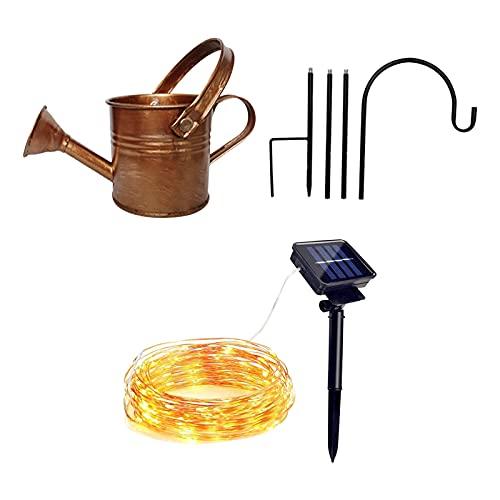 Solar-Wasserfall Giesskanne Lichterkette , Sternendusche Gartenkunst Lichtdekoration LED-Licht Gießkanne Dekoration Spaß Kunst im Freien Lichterkette Dusche + Lampe (Lila)