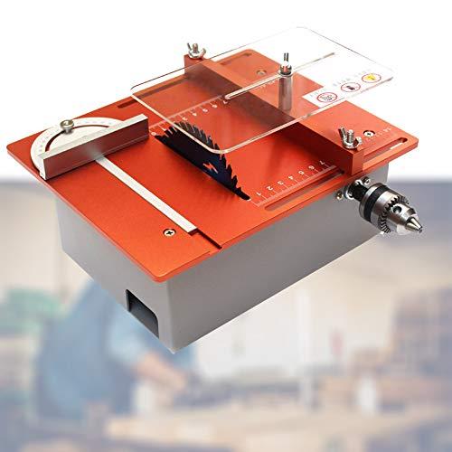 Enwebalay Kleine Tischkreissäge,Multifunktionale Tischkreissäge,Doppelmotoren,Schnitttiefe 0-30Mm,Stufenlose Geschwindigkeitsregelung für DIY Modellbau, Holzplatte,Orange,A