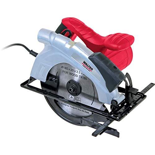 WALTER Handkreissäge 1200 W mit Laserschnittführung, Parallelanschlag und Tiefenanschlag. Gehrungsschnitte bis 45°