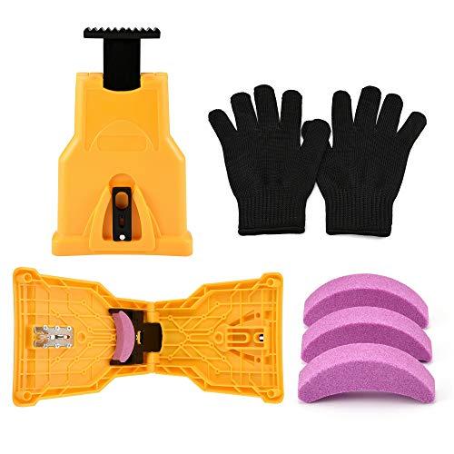 ACBungji Zahnschärfer Kettensägenschärfer mit 3 Stück Schleifstein und 1 Paar Handschuhe für Holzbearbeitung, Kettensäge, Kettenschärfgerät, selbstschärfend, schnell Holzbearbeitung