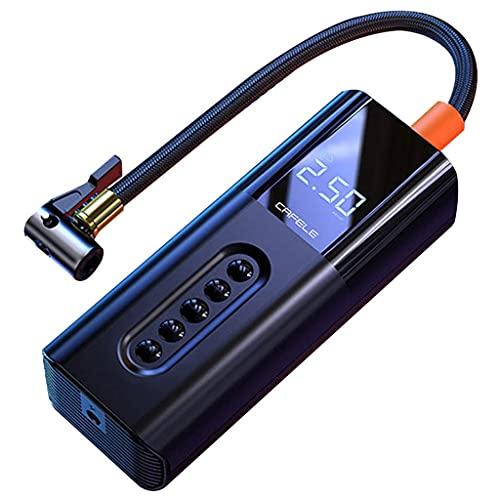 YCDJCS Tragbarer Luftkompressor Elektrische Luftpumpe Mit LED-Licht 3 Düsenadapter Und Display Für Auto Fahrräder Reifen Motorräder Bälle Schwimmring Stationäre Druckluft-Kompressoren (Color : Black)