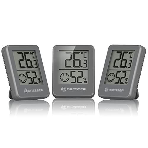 Bresser Thermometer Hygrometer Temeo Hygro Indicator 3er-Set zum Aufstellen oder zur Wandmontage mit...