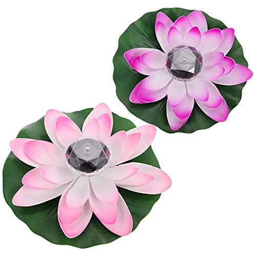 YARNOW LED Lotus Laterne Solar Schwimmende Lotusblüte 2 Stücke 28cm Künstliche Lotusblume Rosa Lila Stimmungslichter Garten Terrasse Pool Schwimmbad Fluss Party Festival Dekoration