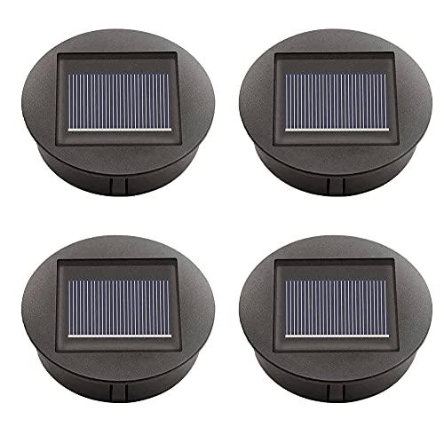 4 Stück Solarleuchten Ersatz Oberteil Panel für Outdoor hängende Solarlaternen, schwarz