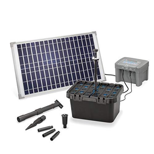 Solar Teichfilter Set Profi bis 2.000 l Teich - 650 l/h Förderleistung 25 Watt Solarmodul - neuester 12 V/12 Ah proBatt Akkuspeicher mit LED Licht - Gartenteich Filter Komplettset, esotec 101064