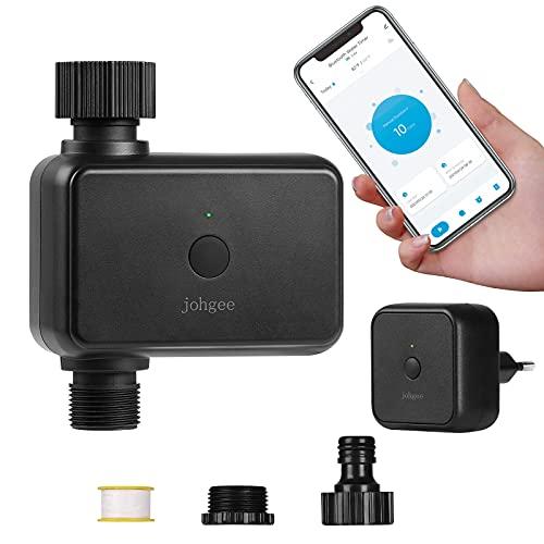 Johgee WLAN-Bewässerungscomputer mit Wi-Fi-Hub, Smart Bewässerungsuhr mit Bluetooth und App Steuerung, Automatische Wasser Zeitschaltuhr für Garten Rasen