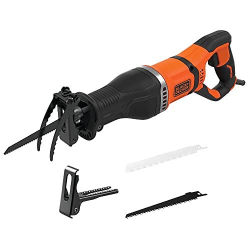 Black+Decker 750 W Säbelsäge BES301 (20 mm Hublänge, Universalsäge mit beweglichen Sägeschuh & Astklemme, für schnelle Schnitte in Holz, Metall & Kunststoff, inkl. 1 Holz- & 1 Metall-Sägeblatt)
