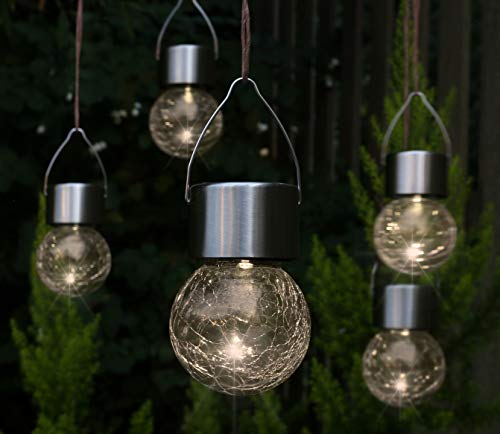 5x LED Solar Hängeleuchte - Garten Deko Solarleuchte Gartenleuchte Hängelampe