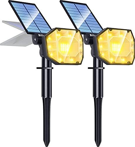 Biling Solarstrahler Außen,2-in-1 Solar Landschaftsbeleuchtung 30 LED Solarlampen für außen,IP67 Wasserdichte Scheinwerfer im Freien Einstellbare Garten Solarscheinwerfer-2pcs-Warmweiß