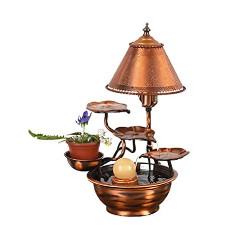 YI0877CHANG Zimmerbrunnen Reine Kupfer Tischplatte Wasserbrunnen - Indoor Desktop Dekoration Wasserfall Brunnen Metall Blume Indoor/Outdoor Wasserbrunnen Brunnen