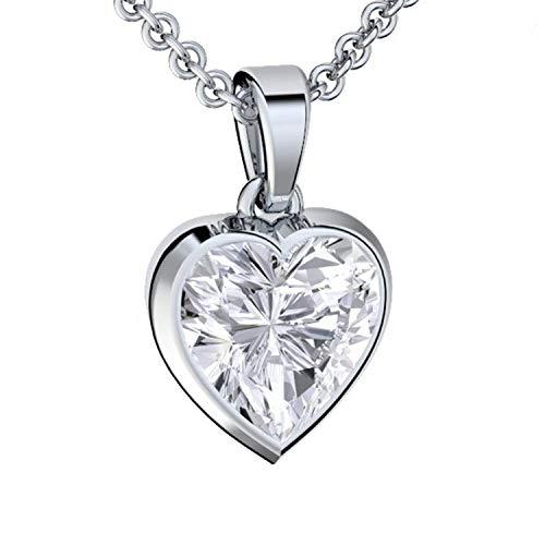 Amoonic Herzkette Silber 925 Premium Etui mit *Ich Liebe Dich* Gravur Halskette für Damen Silber Herz Kette...