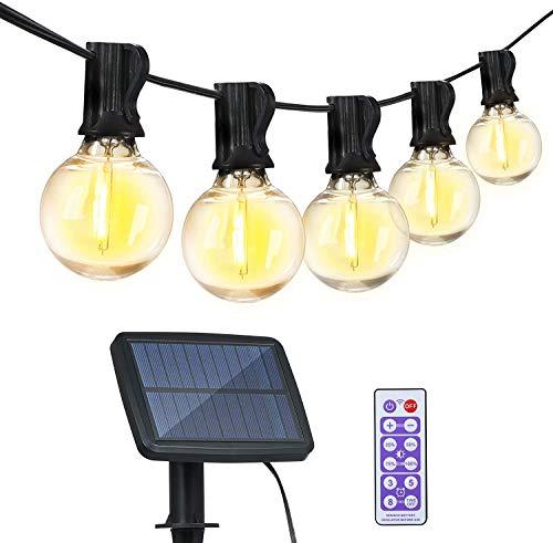 Solar Lichterkette Außen, Glühbirne Lichterkette aussen 5,5M 12+1 LED Birnen Tomshine Garten Lichterkette mit Fernbedienung IP65 Wasserdicht