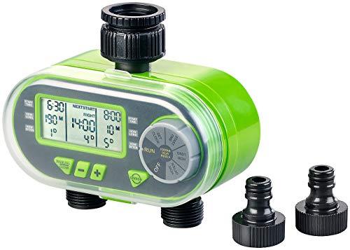 Royal Gardineer Bewässerungsuhr: Digitaler Bewässerungscomputer BWC-200 mit 2 Anschlüssen...