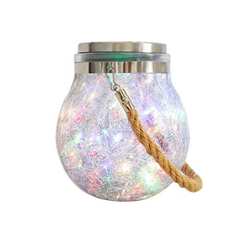 MCDSAJ 2 Stück Glaskugel-Hängeleuchte, hängende Solar-Kugel-Lichter für den Außenbereich, wasserdichte Glaslaterne, Tisch-Lampen, tolle Rasendekoration für den Außenbereich (warme Farbe + bunt)