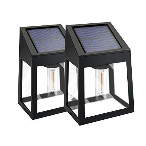 Solarleuchten, Wandleuchte mit Edison-Glühbirne für Zaun im Freien, kabellose wasserdichte IP44-Beleuchtung für Gartenveranda und Terrasse, 2 warmweiße Wandleuchten