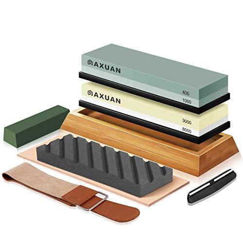 Schleifstein Set, 4 Seiten Körnung 400/1000 3000/8000 Wetzstein Küchenmesserschärfer Set mit Rutschfester...