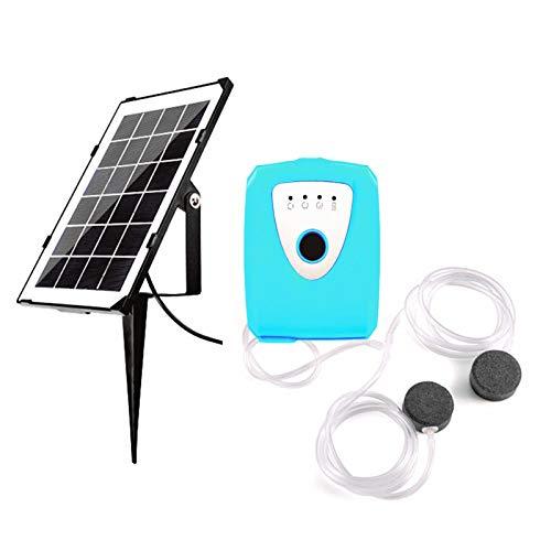 Decdeal Solar Teichbelüfter Sauerstoffpumpe Teich Luftpumpe Teichbelüfter für Tag und Nacht 3,5W Solarmodul 1.2L/min x 2