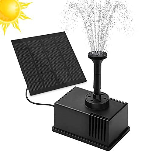 Solar Springbrunnen, omitium Solar Teichpumpe Solar Wasserpumpe Solarpumpe mit 1.5W Monokristalline Monokristalline Solar Panel Brunnen für Gartenteiche,Vogel-Bad, Fisch-Behälter