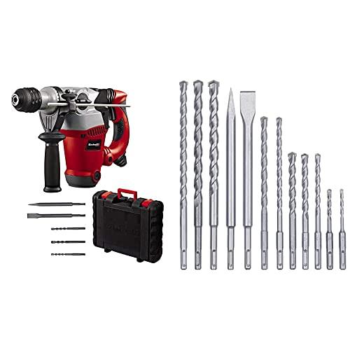Einhell Bohrhammer RT-RH 32 (Bohren, Hammerbohren, Meißeln m. Meißelfixierung, Pneumatisches Schlagwerk, SDS-plus, inkl. 3 Bohrer, Spitz-/Flachmeißel, Koffer, 12-tlg. SDS-Plus Hammer Meißel-Set)