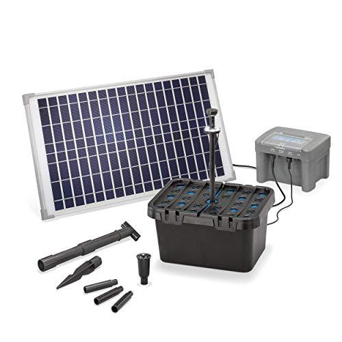 Solar Teichfilter Set Profi bis 2.000 l Teich - 650 l/h Förderleistung 25 Watt Solarmodul - neuester 12 V/12...
